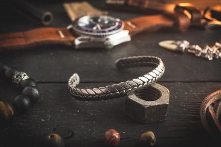 Leidheim  - Antiqued Woven Pattern Stainless Steel Cuff Bangle Men's Bracelet