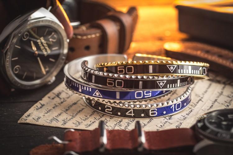 Batman GMT Black & Blue Submariner Bezel Stainless Steel Cuff Bangle Men's Bracelet