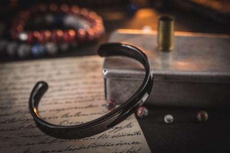 Djaldssen - Black Stainless Steel Cuff Bangle Men's Bracelet