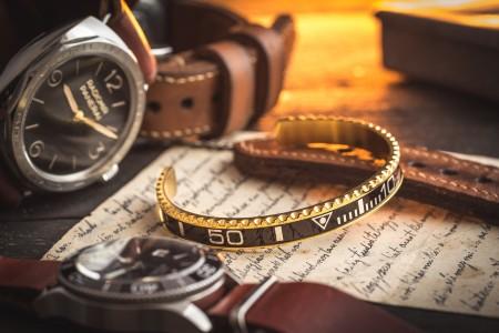 Gold Plated Black Submariner Bezel Stainless Steel Cuff Bangle Men's Bracelet