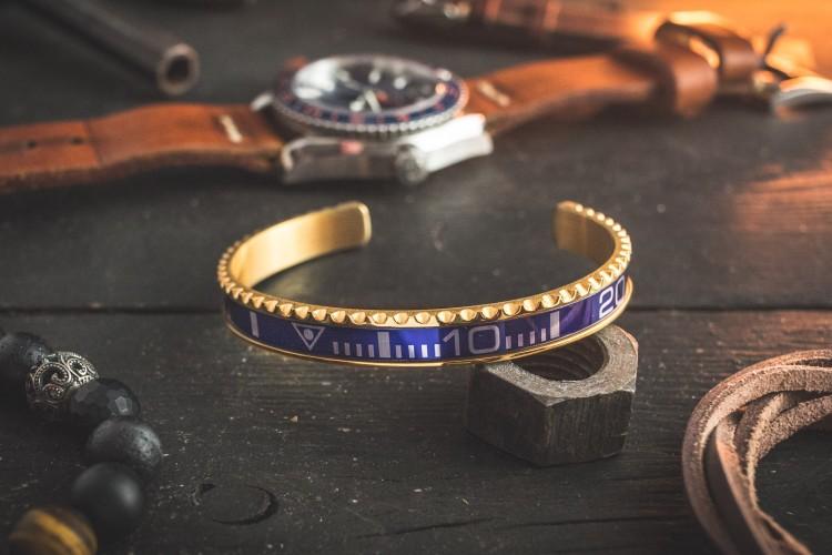 Gold Plated Blue Submariner Bezel Stainless Steel Cuff Bangle Men's Bracelet from STRAPSANDBRACELETS