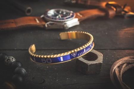 Gold Plated Blue Submariner Bezel Stainless Steel Cuff Bangle Men's Bracelet