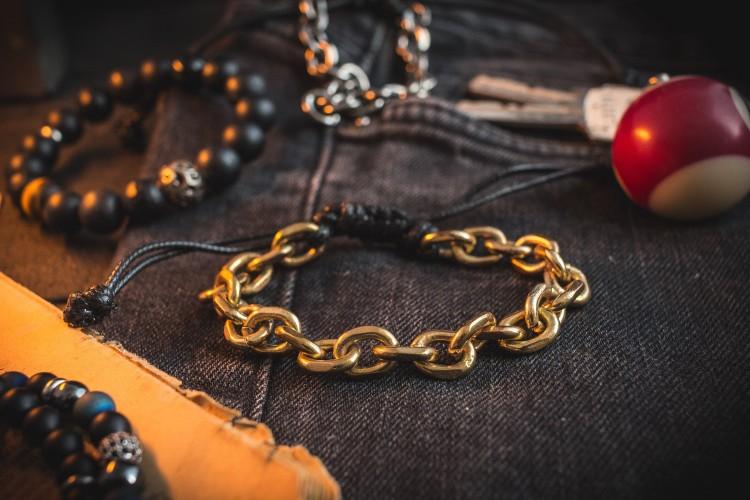 Jargervonssen - Gold Plated Chain Macrame Men's Bracelet