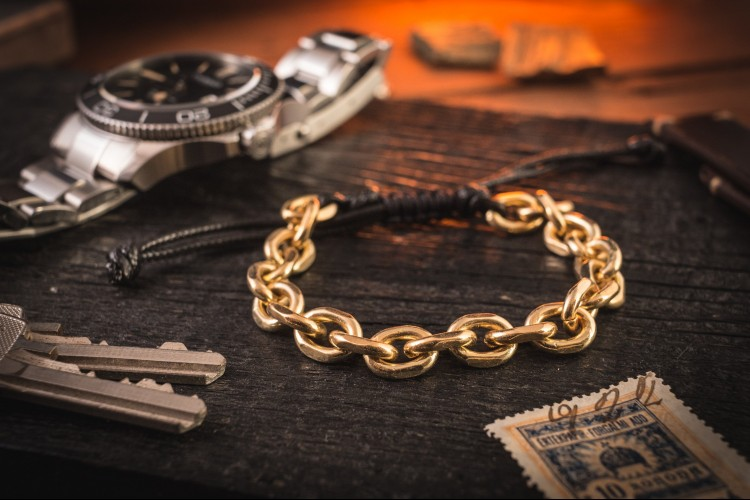 Jargervonssen - Gold Plated Chain Macrame Men's Bracelet from STRAPSANDBRACELETS