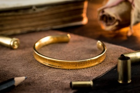 Forbes - Gold Plated Stainless Steel Cuff Bangle Men's Bracelet