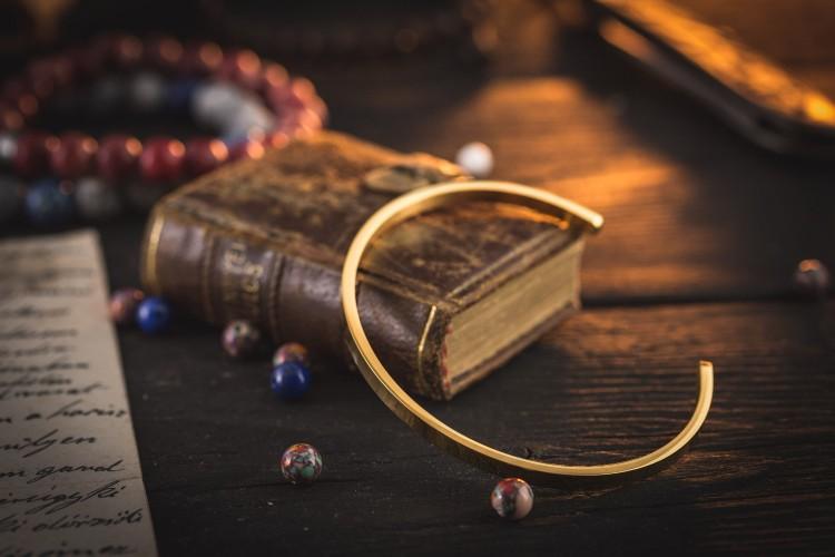 Gold Plated Stainless Steel Cuff Bangle Men's Bracelet from STRAPSANDBRACELETS