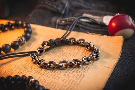 Brythjar - Gunmetal Gray Chain Macrame Men's Bracelet
