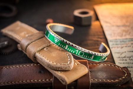 HULK - Green Submariner Bezel Stainless Steel Cuff Bangle Men's Bracelet
