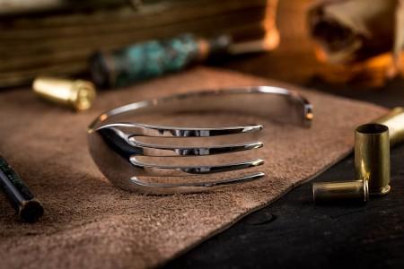 Bauer - Stainless Steel Fork Shaped Bangle Bracelet