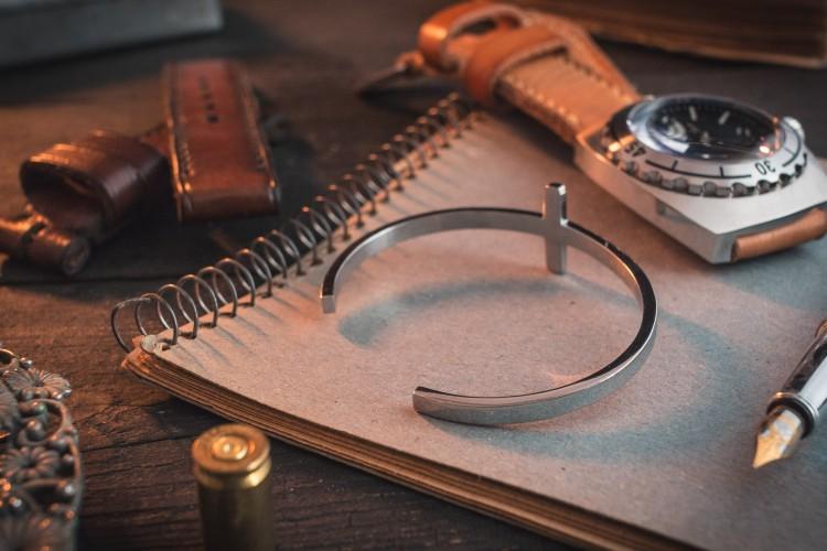 Drew - Stainless Steel Cross Cuff Men's Bangle Bracelet from STRAPSANDBRACELETS