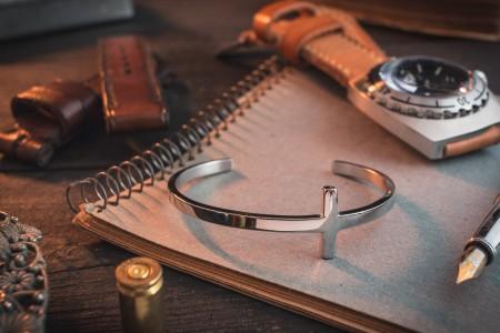 Drew - Stainless Steel Cross Cuff Men's Bangle Bracelet