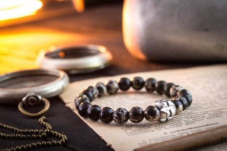 Miro - 8mm - Black Regalite Beaded Stretchy Bracelet With Stainless Steel End Bead