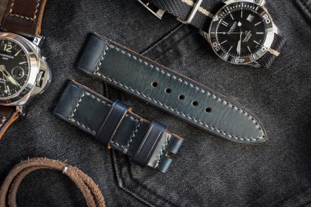 Antiqued Handmade 24/24mm Veg Tan Faded Blue Leather Strap 125/80mm With Contrast Grey Stitching