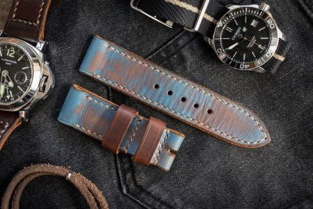 Antiqued Handmade 24/24mm Veg Tan Faded Light Blue Leather Strap 125/75mm With Contrast Beige Stitching