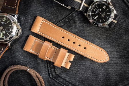 Handmade 24/22mm Veg Tan Natural Light Brown Leather Strap 125/75mm With Contrast Beige Stitching