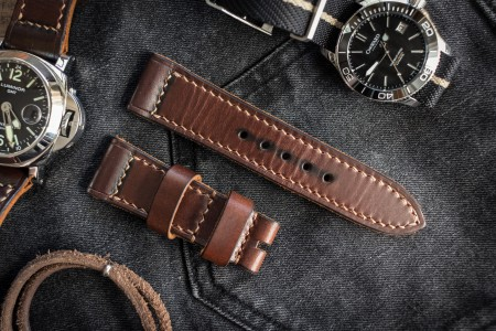 Handmade Antiqued 24/22mm Veg Tan Dark Brown Leather Strap 125/75mm With Contrast Beige Stitching