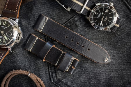 Soft Antiqued Handmade 22/22mm Veg Tan Black Leather Watch Strap 120/80mm With Contrast Beige Stitching