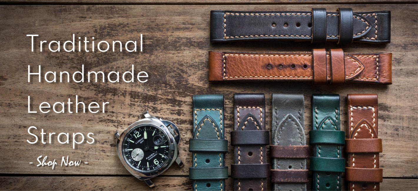 traditional handmade leather watch straps. Click here to see them!
