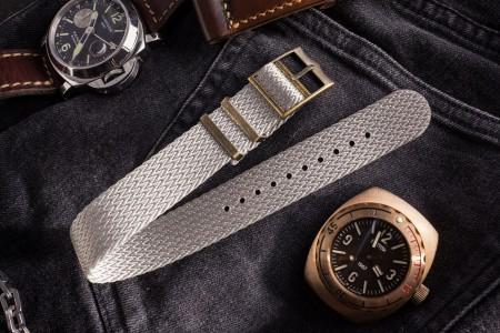 Bronze Hardware - Grey Herringbone Adjustable Single Pass Slip Through Watch Strap (20 & 22mm)