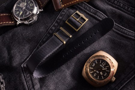 Bronze Hardware - Black Adjustable Seat Belt Single Pass Slip Through Watch Strap (20 & 22mm)