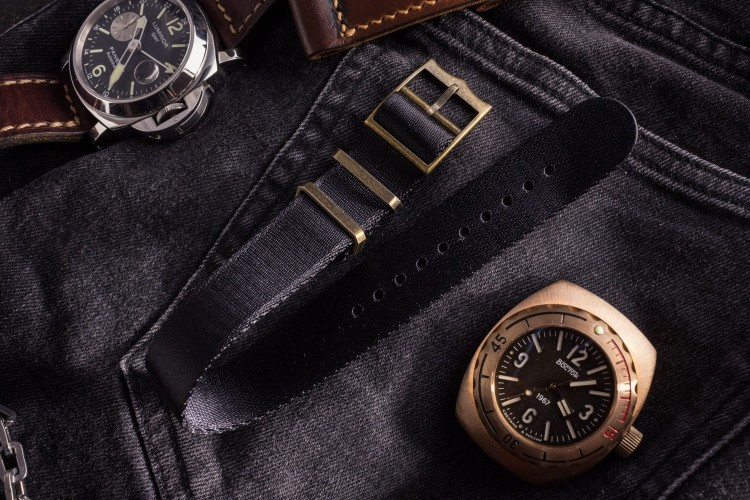 Bronze Hardware - Black Adjustable Seat Belt Single Pass Slip Through Watch Strap (20 & 22mm) from STRAPSANDBRACELETS