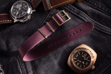 Bronze Hardware - Burgundy Adjustable Seat Belt Single Pass Slip Through Watch Strap (20 & 22mm)