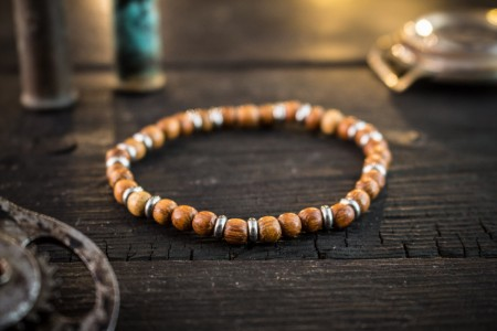 Artin - 5mm - Sandalwood Beaded Stretchy Bracelet with Stainless Steel Accents