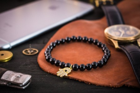 Caelum - 6mm - Black Onyx Beaded Stretchy Bracelet with Gold Micro Pave Hamsa Hand Charm