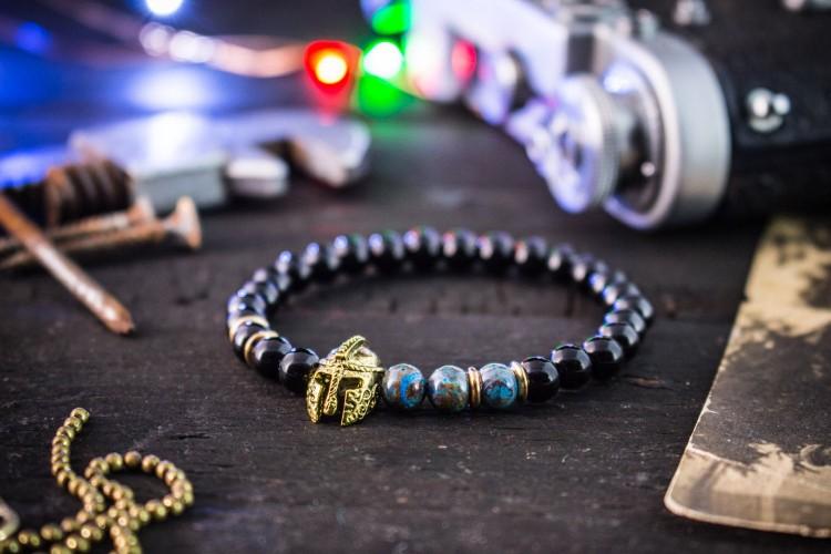Fynn - 6mm - Black Onyx & Blue Crazy Lace Agate Beaded Stretchy Bracelet with Gold Spartan Helmet