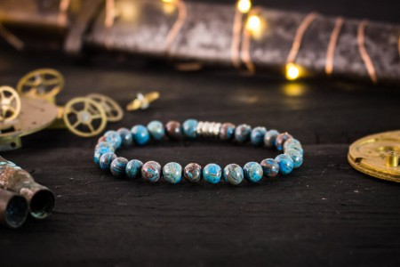 Archer - 6mm - Blue Crazy Lace Agate Beaded Stretchy Bracelet