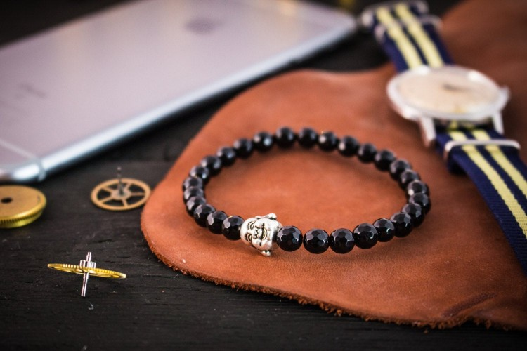 Jayden - 6mm - Faceted Black Onyx Beaded Bracelet with Silver Buddha