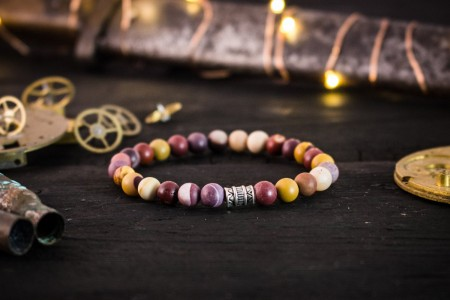 Torkel - 6mm - Frosted Mookaite Beaded Stretchy Bracelet