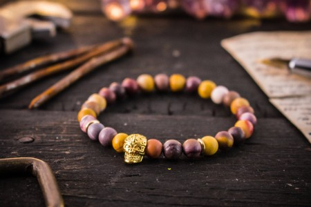 Caeben - 6mm - Frosted Mookaite Beaded Stretchy Bracelet with Gold Skull