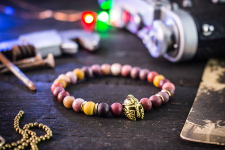 Aeryn - 6mm - Frosted Mookaite Beaded Stretchy Bracelet with Gold Spartan Helmet
