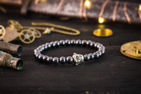 Sonnie - 6mm - Hematite Beaded Bracelet with Silver Buddha