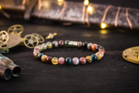Braxton - 6mm - Autumn Color Indian Agate Beaded Stretchy Bracelet