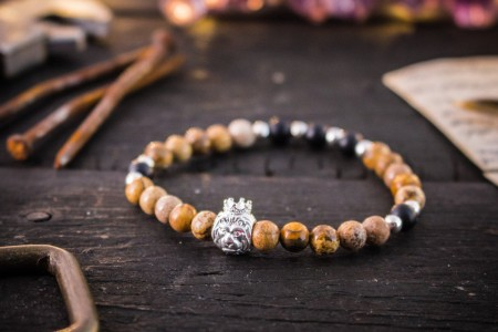 Caie - 6mm -  Jasper Stone & Matte Black Onyx Beaded Stretchy Bracelet with Sterling Silver Lion And Beads