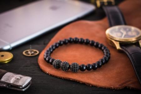 Ayaz - 6mm - Matte Black Onyx Beaded Stretchy Bracelet with Black Micro Pave Balls Charm