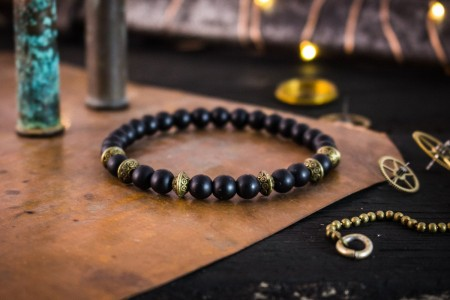 Lennon - 6mm - Matte Black Onyx Beaded Stretchy Bracelet with Bronze Accents