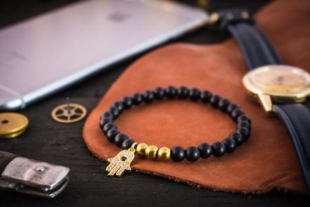 Cosimo - 6mm - Matte Black Onyx Beaded Stretchy Bracelet with Gold Micro Pave Hamsa Hand Charm