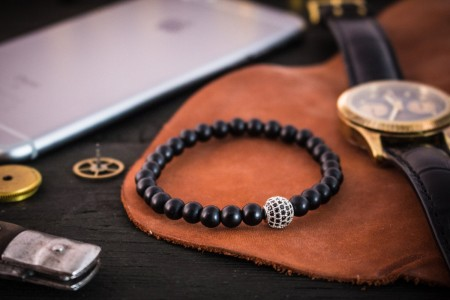 Ciaran - 6mm - Matte Black Onyx Beaded Stretchy Bracelet with Silver Micro Pave Ball Charm