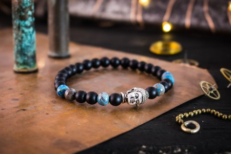 Daragh - 6mm - Matte Black Onyx & Blue Crazy Lace Agate Beaded Stretchy Bracelet with Silver Buddha