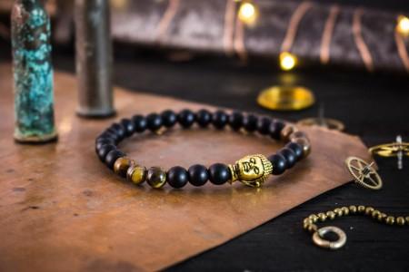 Hugo - 6mm - Matte Black Onyx & Tiger Eye Stone Beaded Stretchy Bracelet with Gold Buddha