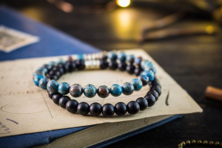 Calvin - 6mm - Set Of 2 - Blue Crazy Lace Agate & Matte Onyx Beaded Stretchy Bracelets