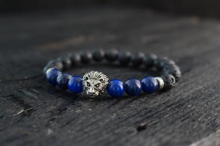 Aaroh - 8mm - Black Lava Stone & Lapis Lazuli Beaded Stretchy Bracelet with Silver Lion