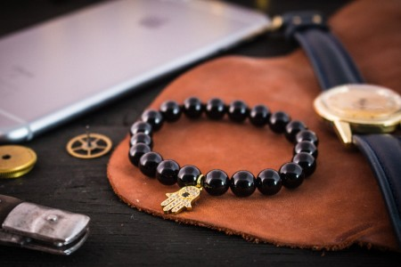 Arlo - 8mm - Black Onyx Beaded Stretchy Bracelet with Gold Micro Pave Hamsa Hand Charm