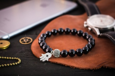 Efren - 8mm - Black Onyx Beaded Stretchy Bracelet with Silver Micro Pave Hamsa Hand Charm & Ball