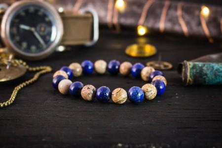 Raefe - 8mm - Blue Lapis Lazuli & Brown Jasper Stone Beaded Stretchy Bracelet