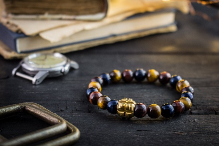 Rishi - 8mm - Blue, Red and Brown Tiger Eye Beaded Stretchy Bracelet with Gold Grenade Bead