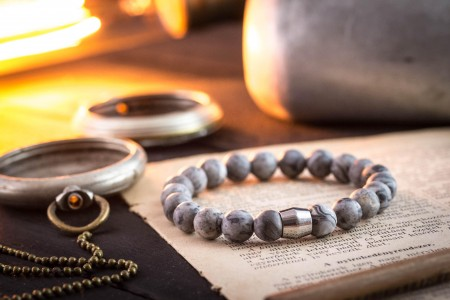 Cayleb - 8mm - Light Gray Picasso Stone Beaded Stretchy Bracelet with Stainless Steel End Bead